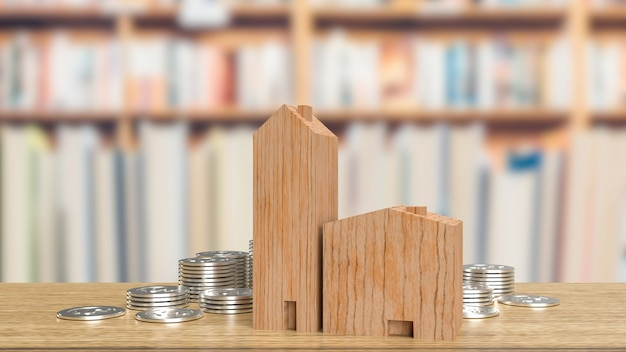 The home wood and silver coins for property  or building concept 3d rendering