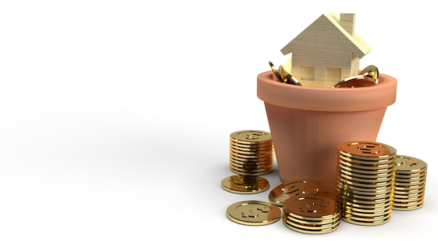 Home wood toy and gold coins in plant 3d rendering for property content.