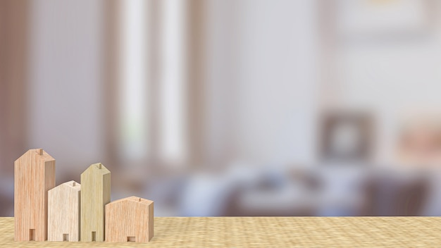 The home wood toy in living room  for property  or building concept 3d rendering