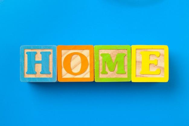 Home. wooden colorful alphabet blocks