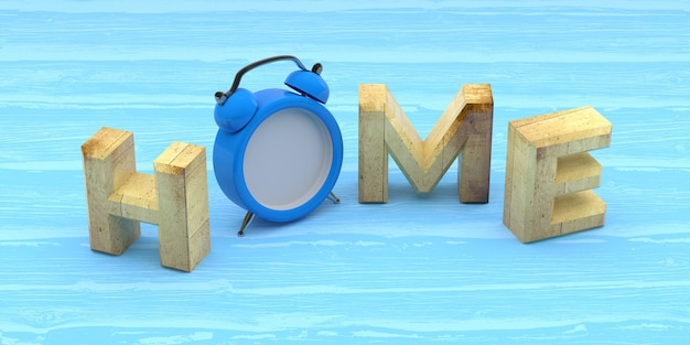 Home word with clock on wooden background. 3d rendering