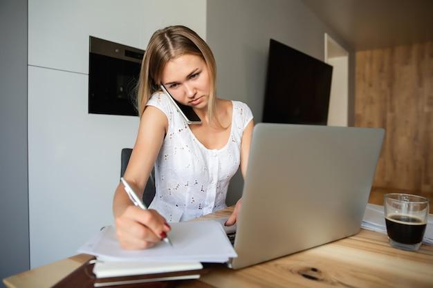가정 직장. 홈 오피스에서 노트북에서 일하는 커피와 여자