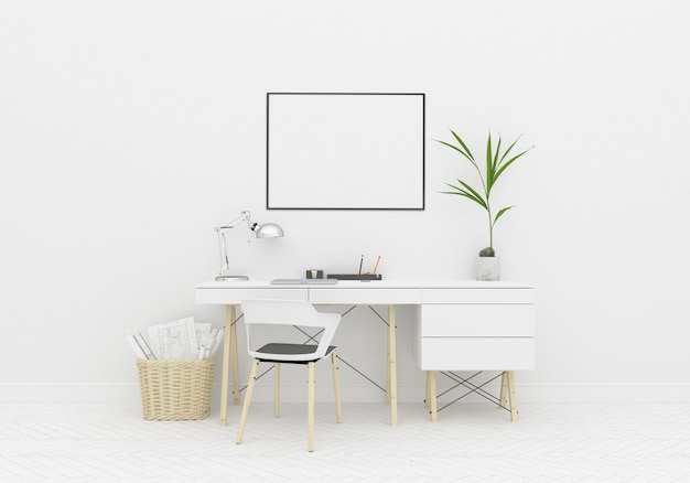 Home worskspace desk area in scandinavian room horizontal frame