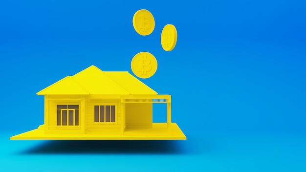 Домашний желтый с биткойноном на синем фоне