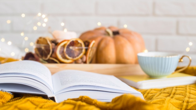 Homely cozy rest on an autumn day off - reading among blankets with a cup of coffee