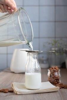 Homemade almond milk using a blender