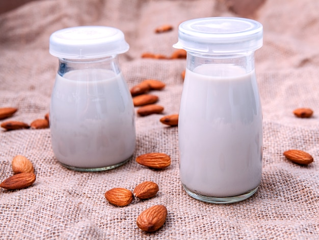 Homemade almond milk with whole  almond .