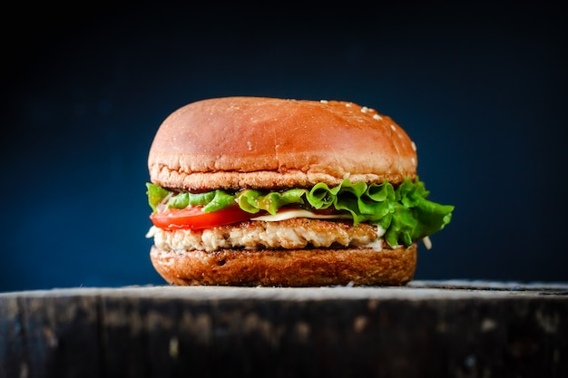Homemade appetizing chickenburger on black background.