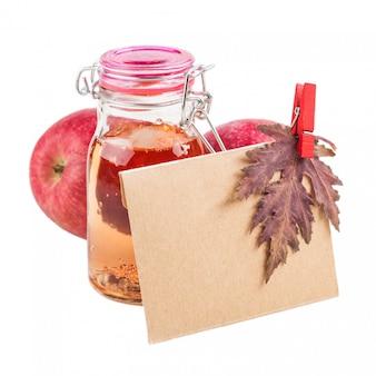 Homemade apple cider and craft envelope