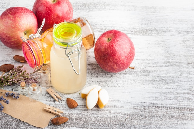 Homemade apple cider and fresh apples