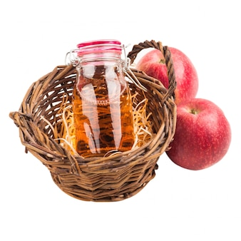 Homemade apple cider and fresh fruits