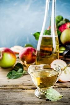 신선한 사과와 계피와 아니스 향료로 만든 사과 사과주
