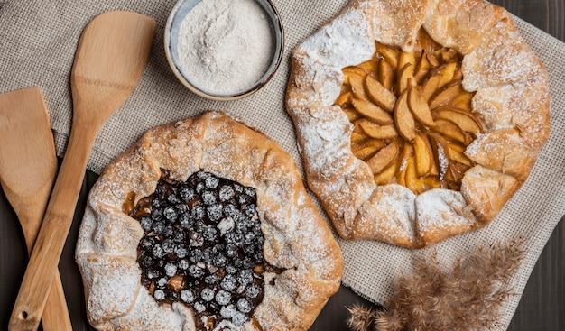 Homemade apple pie and blueberry pie