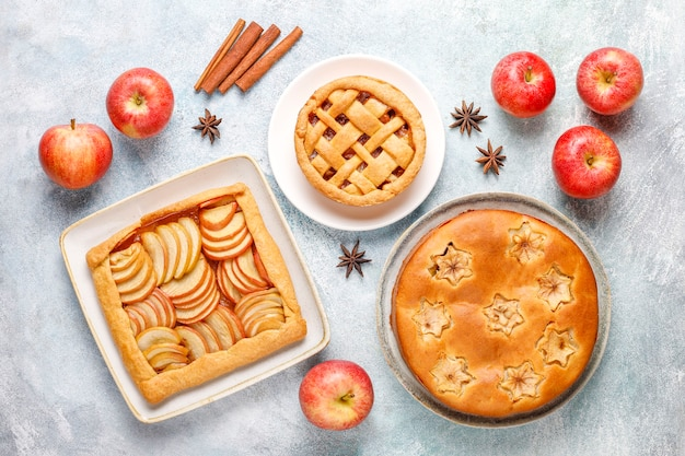 Homemade apple pie,cake and galette