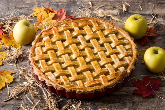 Homemade apple pie on wood table