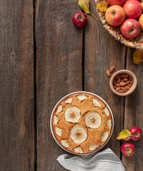 Homemade apple pie on a wooden rustic