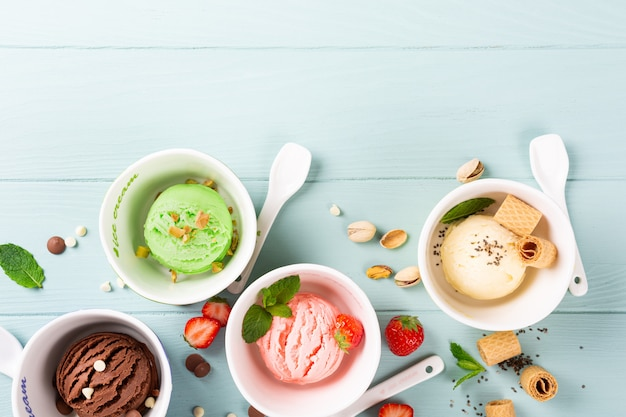 Homemade assorted ice cream in a bowl
