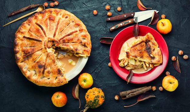 自家製の秋のアップルパイ。