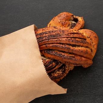 Homemade bagel in paper bag