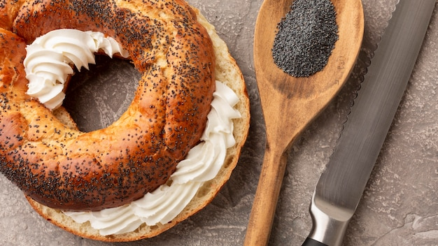 Homemade bagel with cream cheese