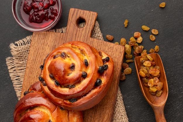 Homemade bagels and raisins