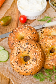 Homemade bagels with ingredients for making sandwich