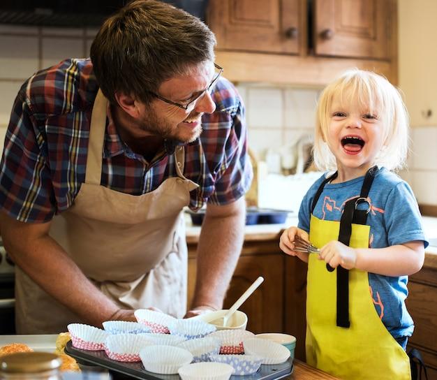 Homemade baking holiday kid son concept
