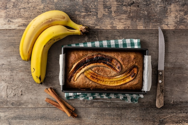 Homemade banana bread on wooden table