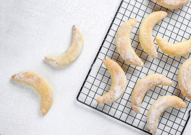 Homemade banana shaped cookies with cottage cheese filling