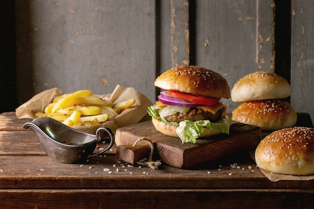 Homemade beef burger with french fries