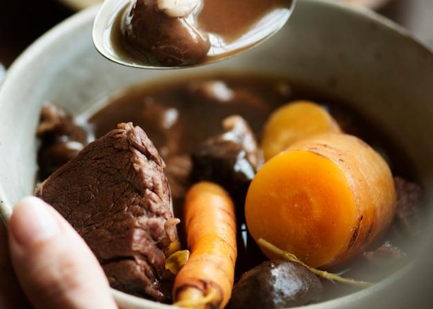 Homemade beef stew food photography recipe idea