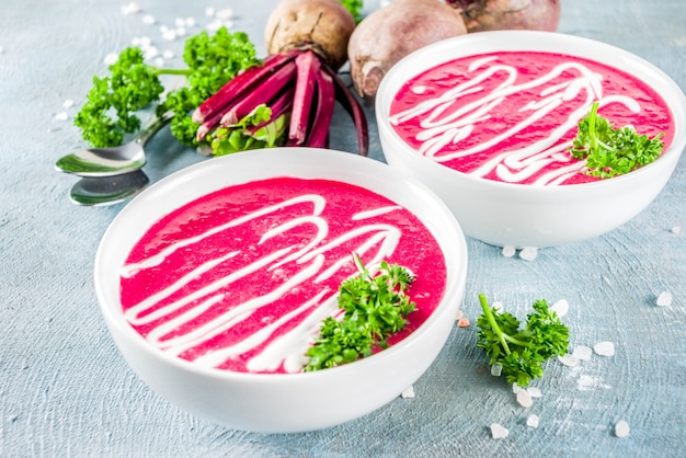 Homemade beetroot cream soup