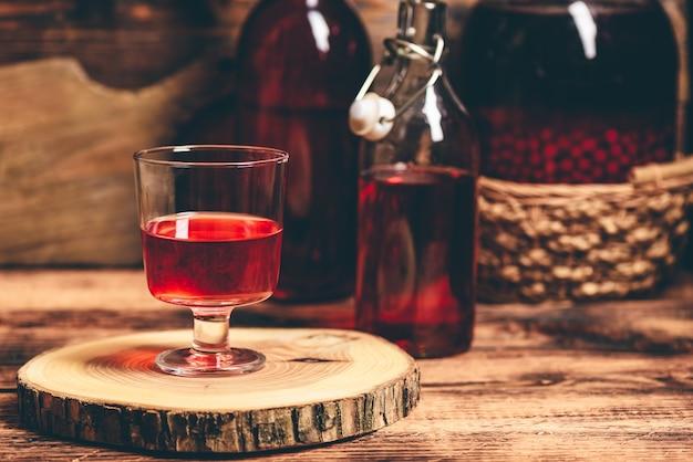 Homemade berry nalewka in glass