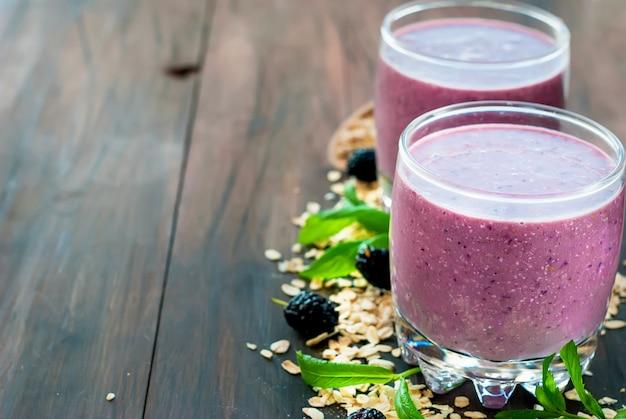 Homemade blackberry yogurt smoothie
