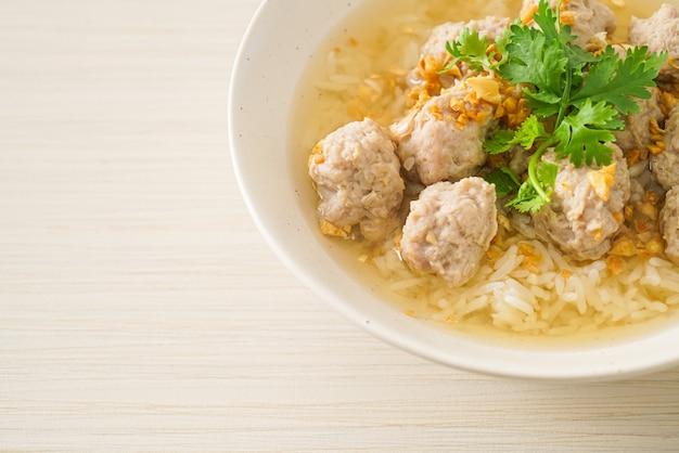 Homemade boiled rice with pork bowl