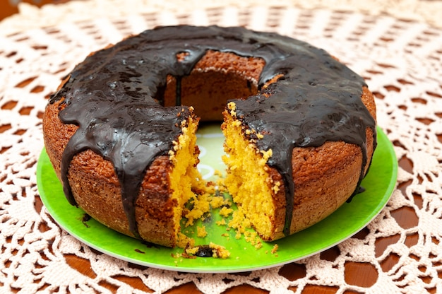Homemade brazilian carrot cake with chocolate sauce