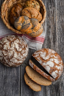 Homemade bread and bread rolls with poppy seeds