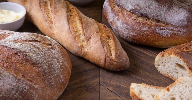 Homemade bread on a dark background healthy wholesome food vegetarian fresh breakfast