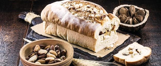 Homemade bread from brazil nut, originating in the amazon, brazilian almond rich in nutrients