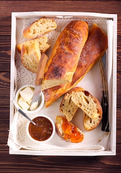 Homemade bread, served with butter and jam