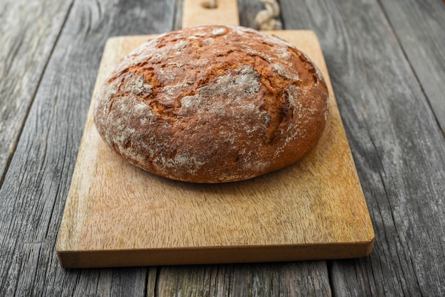 Homemade bread on the serving board