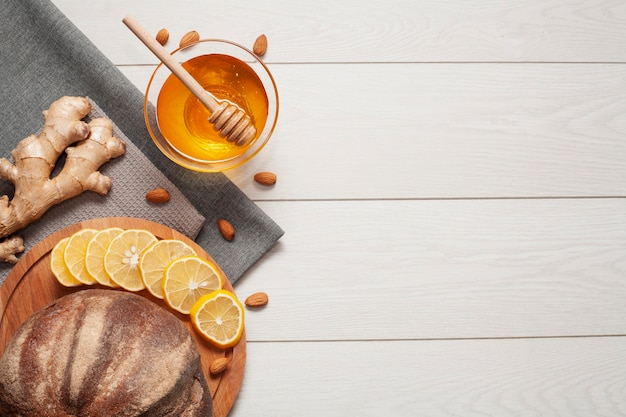 Homemade bread with honey and ginger