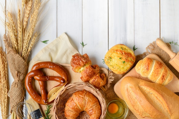 Homemade breads or bun, croissant and bakery