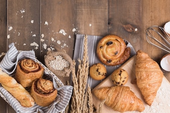 Homemade breads or bun on wood background