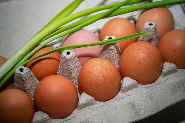 環境にやさしいカートンに入った自家製の茶色の鶏卵