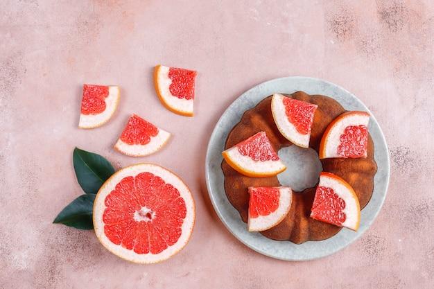 Homemade bundt cake with citrus fruits.