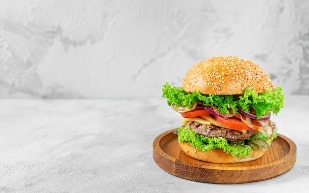 Домашний бургер со свежими овощами с копией пространства