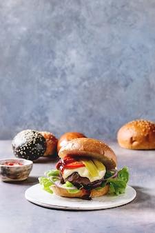 Homemade burgers variety
