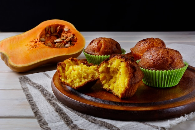 Homemade butternut squash muffins on the cutting board