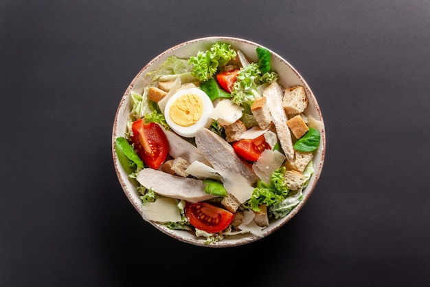 Homemade caesar salad with chicken